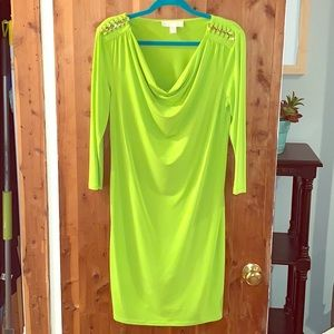 Neon Green Micheal Kors Dress Size Medium Gold